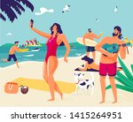 lady in red swimsuit making... | Shutterstock .eps vector #1415264951