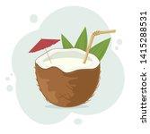 fresh summer coconut cocktail....   Shutterstock . vector #1415288531