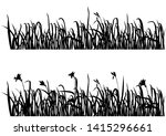 silhouette flowers and grass ... | Shutterstock .eps vector #1415296661