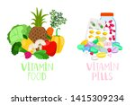 vitamin food and pills.... | Shutterstock .eps vector #1415309234