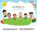group of children jumping  back ... | Shutterstock .eps vector #1415328947