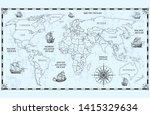 vector antique world map with... | Shutterstock .eps vector #1415329634