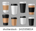 paper coffee cups set. white... | Shutterstock .eps vector #1415358014
