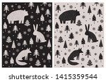 Stock vector bear hare and fox sitting among christmas trees and snow flakes abstract hand drawn woodland 1415359544