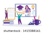 student writes summary. lecture ... | Shutterstock .eps vector #1415388161