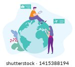 man and woman send message and... | Shutterstock .eps vector #1415388194