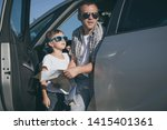 happy father and son standing... | Shutterstock . vector #1415401361