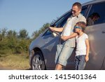 happy father and son standing... | Shutterstock . vector #1415401364