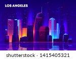 los angeles skyline with neon... | Shutterstock .eps vector #1415405321