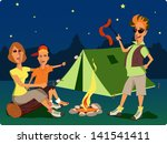 family camping. man  woman and... | Shutterstock .eps vector #141541411