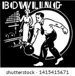 bowling 4   retro ad art banner | Shutterstock .eps vector #1415415671