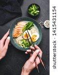 chicken ramen noodle soup in... | Shutterstock . vector #1415431154