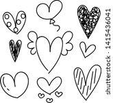 set of doodles hearts. grunge... | Shutterstock .eps vector #1415436041