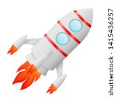 flying rocket. colored cartoon... | Shutterstock . vector #1415436257