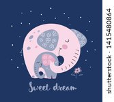 Stock vector elephant with a baby elephant in a cute style sweet dream inscription vector 1415480864