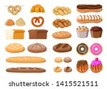 bread icons set. whole grain ... | Shutterstock .eps vector #1415521511