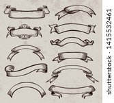 vintage vector scroll ribbon.... | Shutterstock .eps vector #1415532461