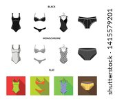 isolated object of bikini and...   Shutterstock .eps vector #1415579201