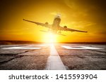 airplane on the sky. summer... | Shutterstock . vector #1415593904