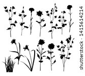 set of silhouette flowers and... | Shutterstock .eps vector #1415614214