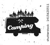 Outdoor camping vector monochrome emblem, label, badge, sticker or logo with camper van silhouette and forest isolated on textured background - stock vector