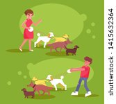 Stock vector dog walking services woman and man walk with four dogs 1415632364