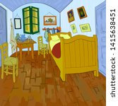 van gogh's bedroom. digital... | Shutterstock .eps vector #1415638451
