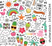 hand drawn summer elements and... | Shutterstock .eps vector #1415662244