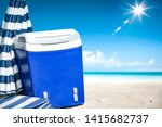 beach fridge on sand with... | Shutterstock . vector #1415682737