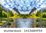 mountain valley river water... | Shutterstock . vector #1415684954