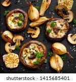 roasted portobello mushrooms...   Shutterstock . vector #1415685401