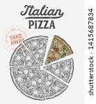 pizza illustration for...   Shutterstock .eps vector #1415687834