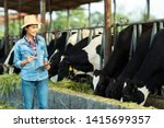 farmer have recording details... | Shutterstock . vector #1415699357