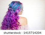 back view of stylish youth girl ...   Shutterstock . vector #1415714204