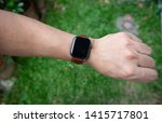 modern smart watch with leather ... | Shutterstock . vector #1415717801