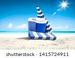 summer photo of beach and blue... | Shutterstock . vector #1415724911