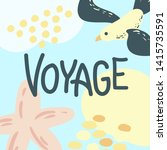 voyage poster. vector isolated... | Shutterstock .eps vector #1415735591