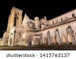 Night scene of Monasterio de las Huelgas - Burgos.  Abbey of Santa Maria la Real de Las Huelgas - Burgos, Castile and Leon, Spain .