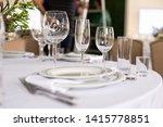 table setting in the restaurant.... | Shutterstock . vector #1415778851