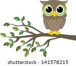 Little Cute Owl Sitting On A...