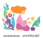 vector hygge illustration with... | Shutterstock .eps vector #1415901287