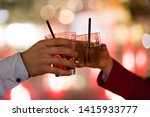 friends toasting glasses in a... | Shutterstock . vector #1415933777