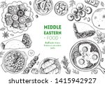 middle eastern food top view... | Shutterstock .eps vector #1415942927