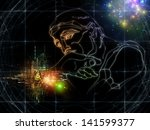 sketch of rodin's thinker and... | Shutterstock . vector #141599377