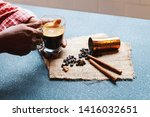 cropped shot of man holding a... | Shutterstock . vector #1416032651