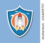 rocket over striped label... | Shutterstock .eps vector #1416049757