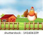 illustration of a chicken above ... | Shutterstock .eps vector #141606109