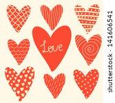 vector set of different red... | Shutterstock .eps vector #141606541