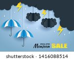 monsoon  rainy season sale... | Shutterstock .eps vector #1416088514