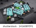 blue popsicles with blueberries ... | Shutterstock . vector #1416089591